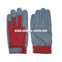 Kunstleder Baumwolle zurück stricken Handgelenk Mechaniker Handschuh-7202