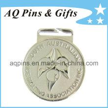 Medalha de liga de zinco em chapeamento de prata para patinação no gelo