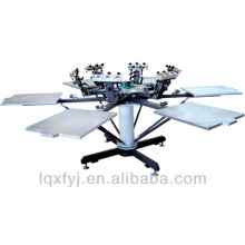 6 color six station manual rotary t-shirt screen print machine with mico registration