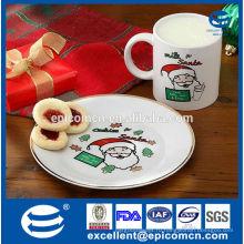 Рождественская фарфоровая плита печенья и кофейная кружка