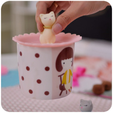 Suitable Cat Pattern Silicone Bowl Coffee Cup Lid