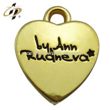 Hot selling products love heart metal custom gold plated charm and pendant