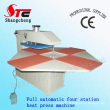 Vollautomatische T-Shirt Heat Transfer Maschine vier Station pneumatische Hitze Presse Maschine Stc-Qd03