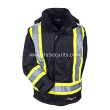 Men's High Visibility Hooded Black Safety Jacket