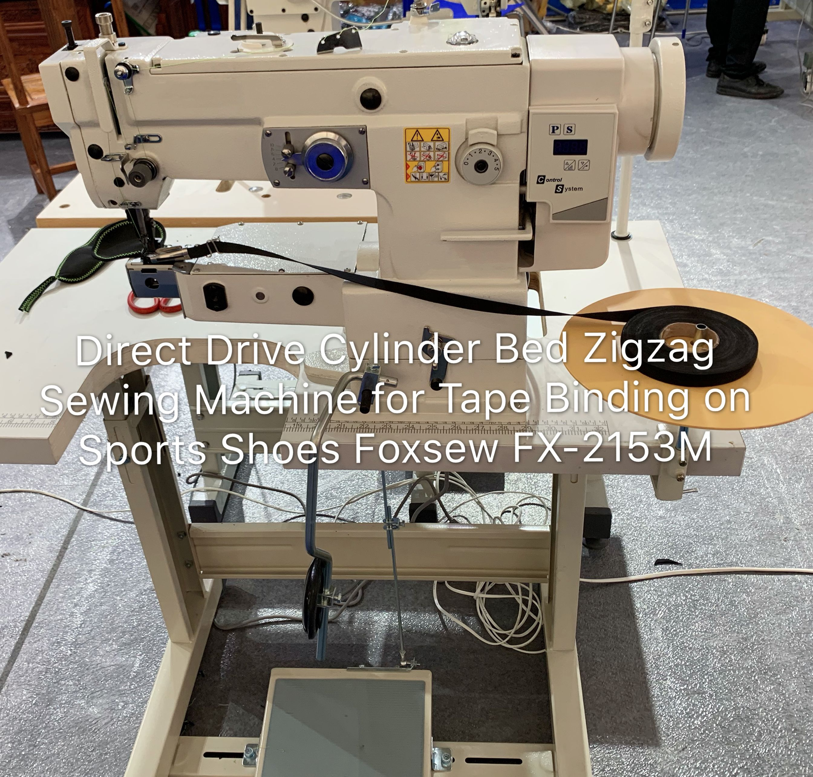 Direct Drive Cylinder Bed Zigzag Sewing Machine For Tape Binding On Sports Shoes Foxsew Fx 2153m