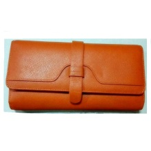 Guangzhou Supplier Fashion Real Leather bolsa comprida carteira de bolsa feminina (W184)