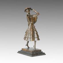 Tänzer-Statue Spanische Dame Bronze-Skulptur, P. Philippe TPE-316
