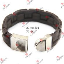 Bracelet en cuir tricot en acier inoxydable en cuir tricoté pour bijoux homme (LB15112305)