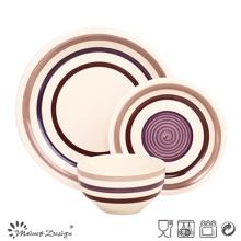 18pcs haute qualité peint à la main brun en céramique ensemble de dîner