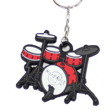Idea Metal Drum Keychain With Charm Pendant