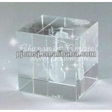 2015 Оптовая продажа индивидуальные Античная Хрустальный куб с 3D лазерной гравировкой Скрипка для музыканта подарков
