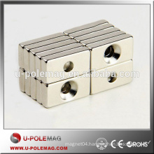 #4 Screws N35 NdFeB Countersunk Block Magnet F20x10x4mm