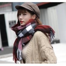 winter warm custom cashmere pashmina check scarf