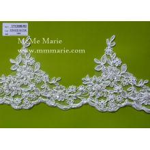 China-Großhandelsrand bestickte Spitze / wulstige Blumenbrautspitzeordnung für Hochzeitskleid