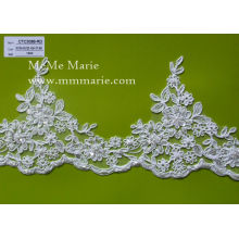 China wholesale Border embroidered lace/beaded floral bridal lace trim for wedding dress