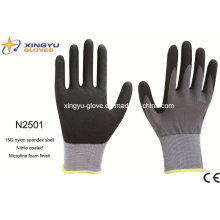 Nylon Spandex Shell Nitrile guantes de trabajo de Saftey recubiertos (N2501)