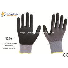 Рабочие перчатки с защитным покрытием из нитрила с покрытием Nylon Spandex (N2501)