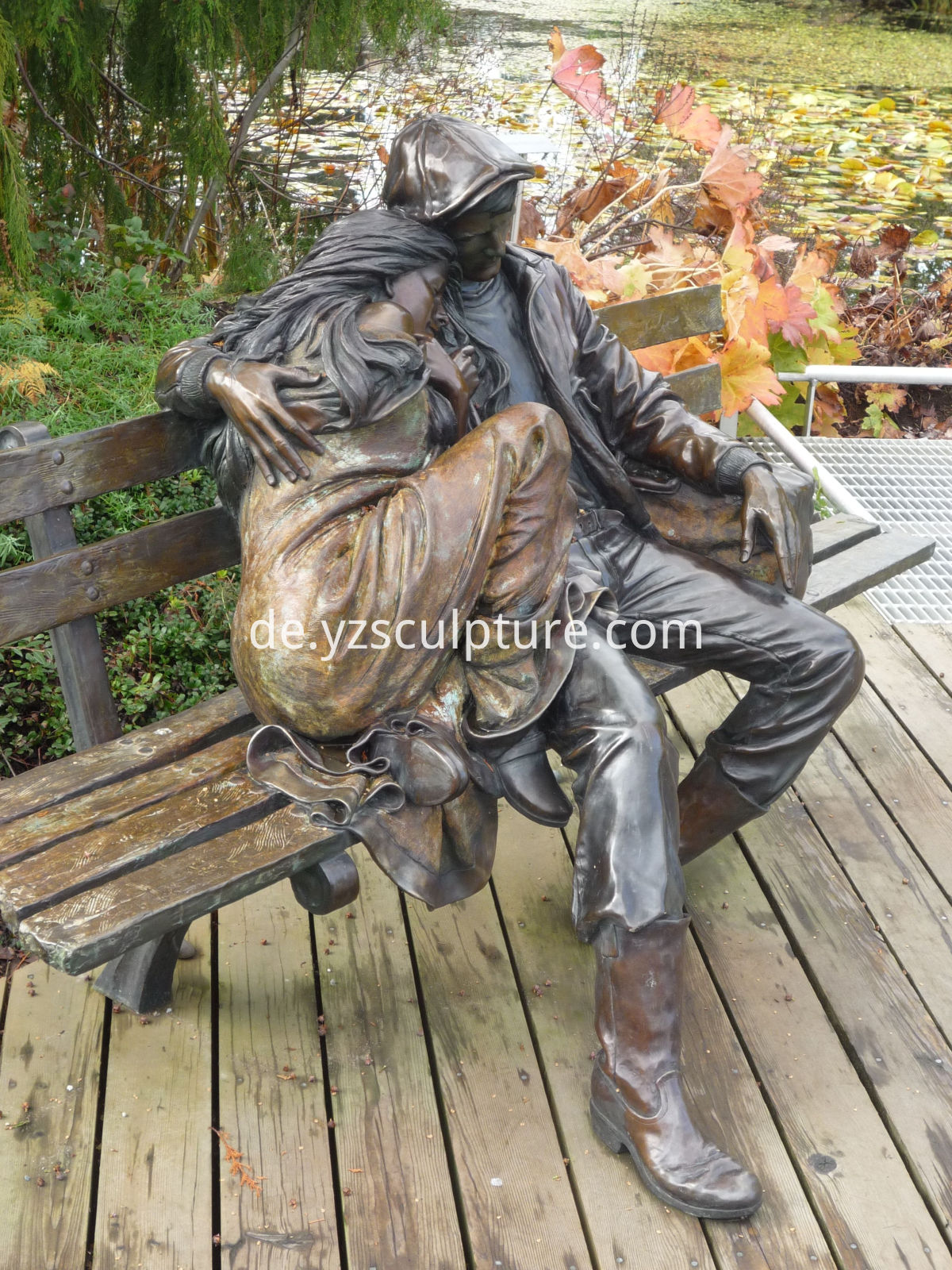brass couple statue