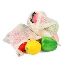 Organic cotton drawstring mesh bag set premium organic cotton mesh produce bags reusable produce bags set for fruits