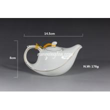 220ml White Porcelain Flying Tea Pot With Golden Line