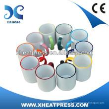 AA grade 11oz Rim Color Sublimation Mug para transferência de calor