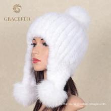 Nuevas gorras de lana caliente para mujer en blanco puro