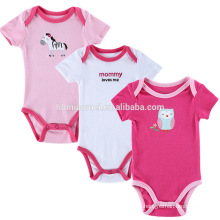 Wholesale embroidered girl clothing organic cotton baby jumpsuit onesie set girl romper