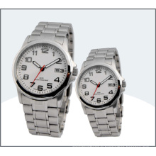 Montre d'amant d'acier inoxydable, montres de couple de quartz (15169)
