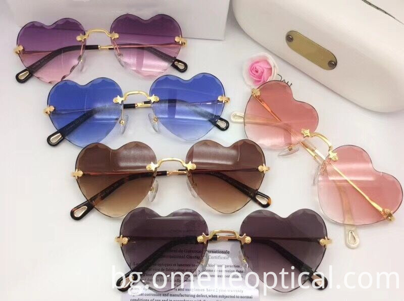 Pink Metal Heart Sunglasses
