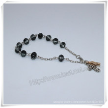 Black Glass Beads Catholic Rosary Bracelet on Chain (IO-CB182)