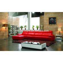 cheap wooden leather living room sofa set in red color KW332
