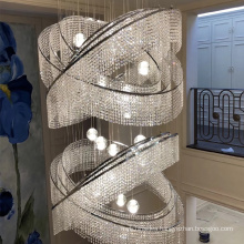 modern metal luxury big hotel lobby contemporary ceiling round k9 pendant crystal chandelier