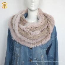 Hight calidad de las mujeres con capucha sombrero de bufanda hecho punto de lana con la piel de Fox Real