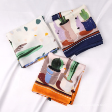 New Arrival 70*70cm Polyester Silk Plant Pattern Printed Scarves Square Satin Head Scarf