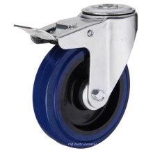 Bolt Hole Type de frein Blue Rubber Industrial Caster (KXX7-D)