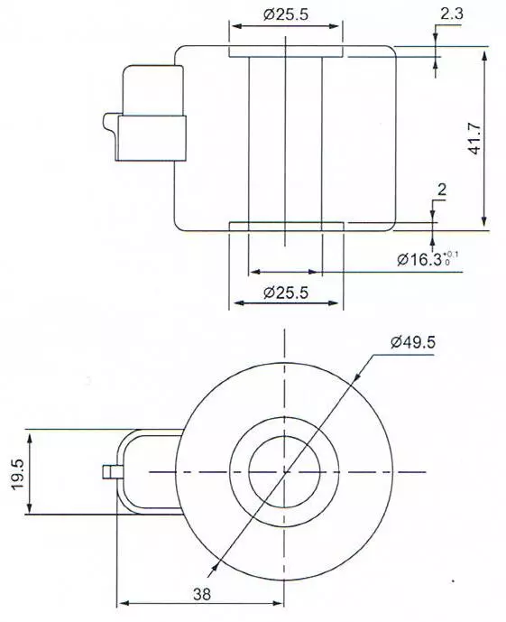 Dimension of BB16341710 Solenoid Coil: