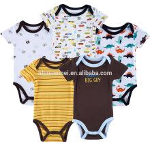 Heißer Verkauf weichen Bio-Baumwolle Rundhalsausschnitt 5 Stück Streifen Strampelanzug gelb dunkelblau schlicht weißen Cartoon bedruckt Baby stricken Strampler
