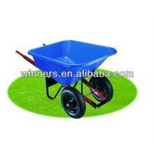 Blue Poly Tray and Wood Handles Wheelbarrow