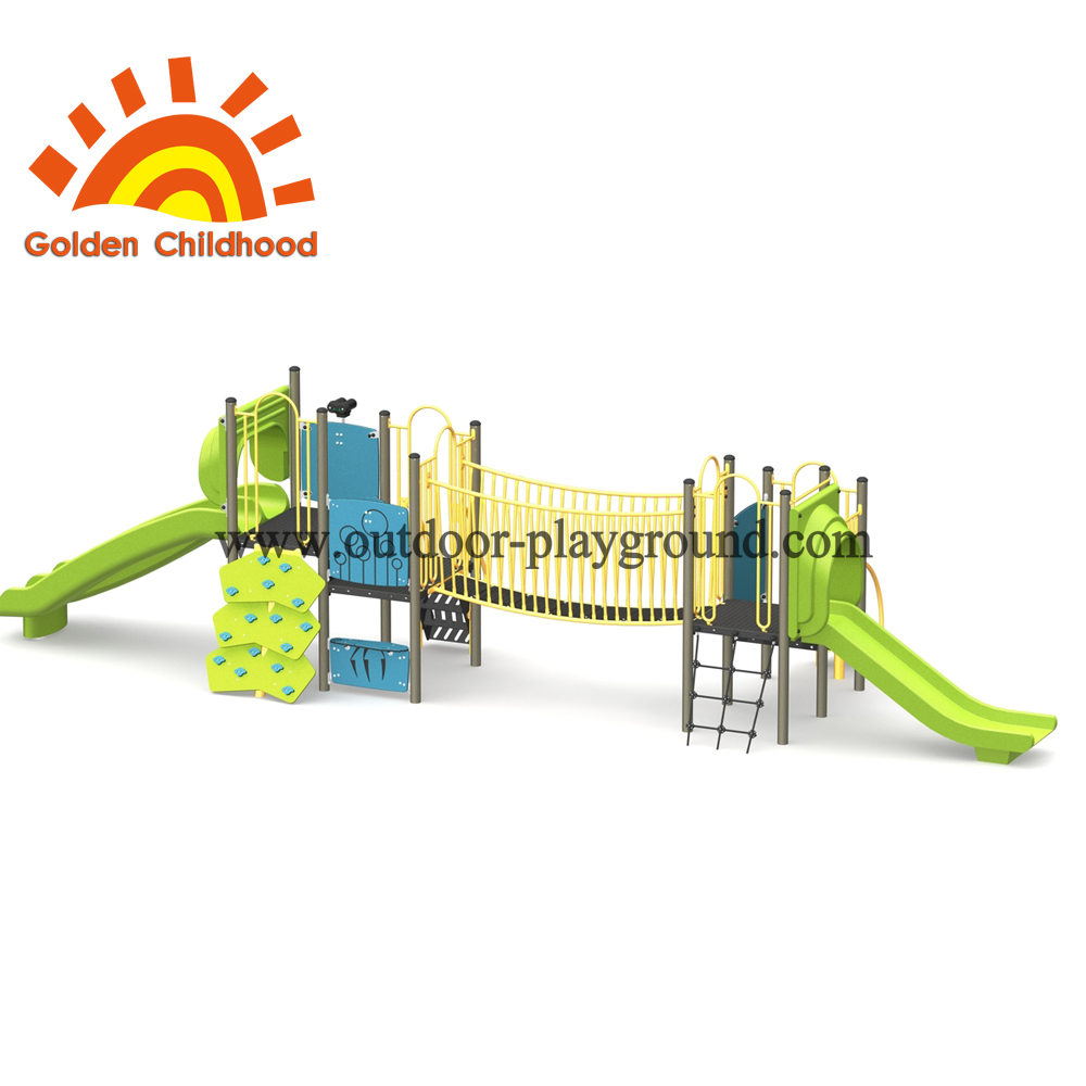 Long Outdoor Playground With Bridge Equipment
