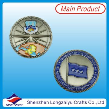 Blaue Farbe gefüllte Münze 3D Flagge Antike Nickel Münze (LZY1300052)