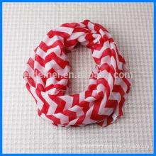 Ladies printed plain circle loop scarf