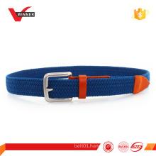 Mens elastic silver buckle braided stretch belt