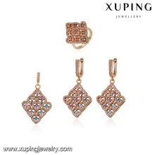 64151 xuping fashion copper drop earring huggie costume jewellery set