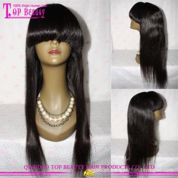 7a cutícula cheia de cabelo humano brasileiro virgem cor Natural frontal direito Lace Wig com estrondo
