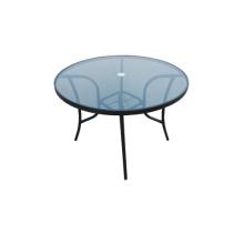 Mobilier d'extérieur table à manger avec plateau en verre