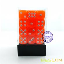 Bescon 12mm 6 Sided Dice 36 in Brick Box, 12mm Six Sided Die (36) Block of Dice, Translucent Orange with White Pips