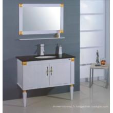 Cabinet de salle de bains en bois blanc (B-306)