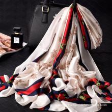 2018 new arrival beautiful printed lady shawl scarf 180x90cm 100% polyester silk scarf