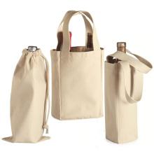 wholesale Custom Durable two bottle wine bag foldable Canvas 2 bottle wine tote bag