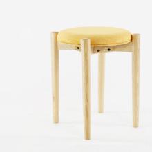 Modern Wood Leg Home Stool with Fabric Sofa Seat